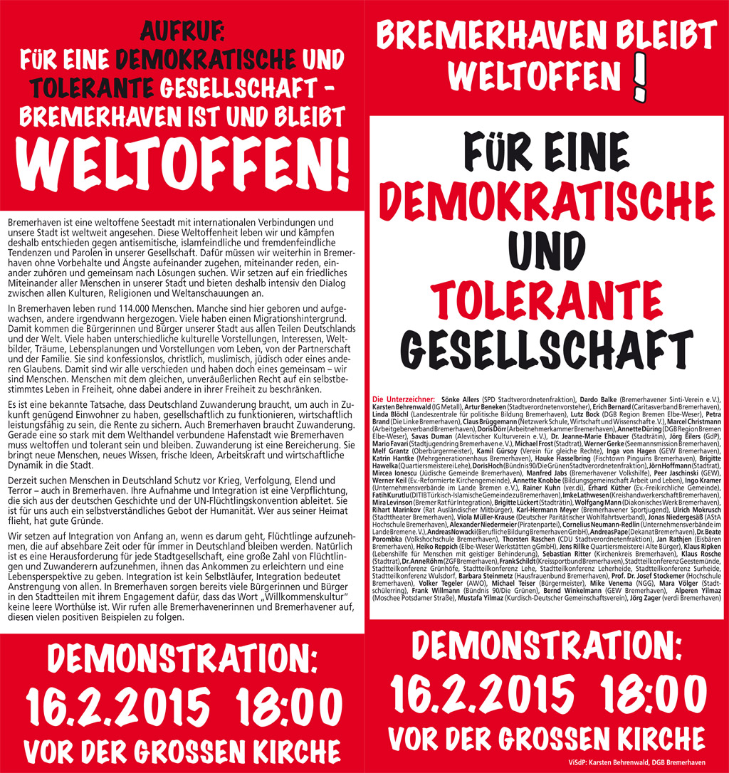 Aufruf zur Demonstration am 16.2.2015